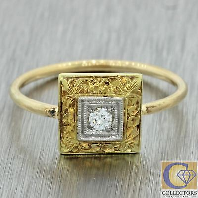 1920s Antique Art Deco 14k Solid Yellow Gold .04ct Diamond Square Shape Ring