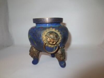Chinese Cloisonne Incense Burner Antique As Is Cobalt Blue Enamel Hand Painted