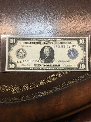 1914 U.S. $10 Federal reserve Note Bill Large Currency