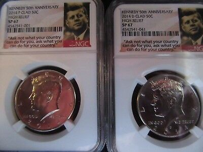2014 Kennedy 50th anniversary clad set NGC graded sp67 see photos