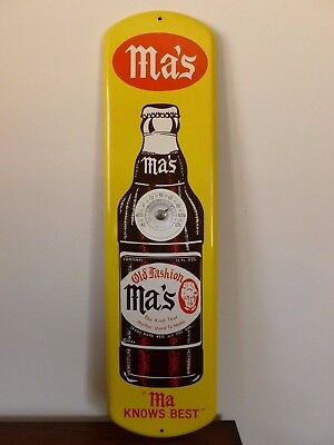 """Original Ma's cola thermometer sign 7 x 27"""" close to new old stock condition"""