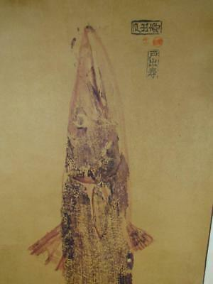 ANTIQUE CHINESE or JAPANESE CALLIGRAPHY SCROLL PAINTING with HAND PAINTED FISH