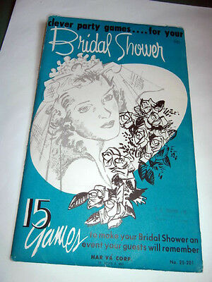 Vintage mid century Bridal Shower party games by Har Va Corp NEW