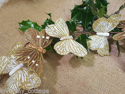 Sparkling Gold Bronze Decorative Butterfly Garland Christmas Tree Decoration