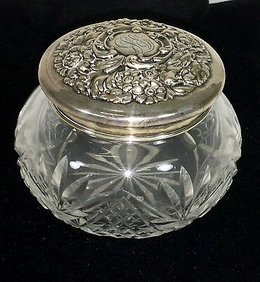 Victorian Dominick & Haff Sterling Cut Glass Powder Jar