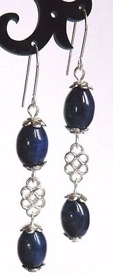 Sterling Silver Art Deco Style LAPIS LAZULI Semi Precious Blue Gem Hook Earrings