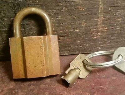 Vintage Antique Brass Unican Padlock U.s. Set With Key Matching Numbers Usa Made