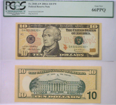 2004 A $10 Boston District Star Federal Reserve Note PCGS 66PPQ
