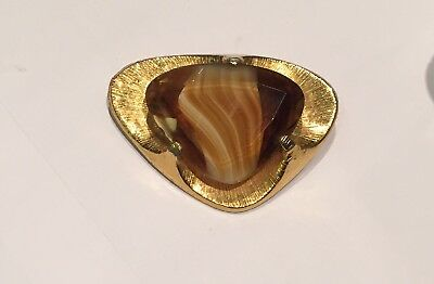 Vintage Agate And Gold Tone Brooch Mid Century