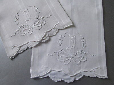 """DAMASK HUCK LINEN LARGE TOWELS Victorian Monogram """"D"""" Embroidery Ribbons Antique"""