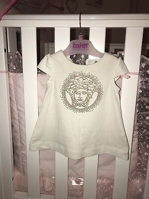 Baby Girl Versace Gold Diamanté Detail 0-6 Months Brilliant Condition