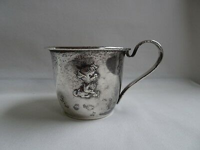 Vintage Selandia Denmark 820 Silver Baby Cup Puppy Child Tarnish Mono JBB or TBB