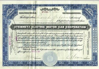 Stock Certificate: Steinmetz Motor Car Corporation  1921    Early Electric Car