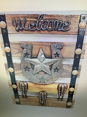 """Comfy Hour 15"""" Cast Iron Star and Horse Tail Triple Coat Hook Clothes Rack Decor"""