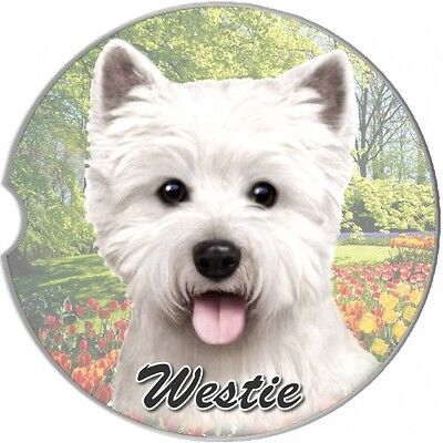 West Highland Terrier Westie Sandstone Absorbent Dog Breed Car Coaster