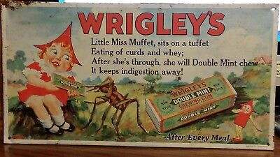 old tin embossed Wrigley's double mint chewing gum advertising candy sign