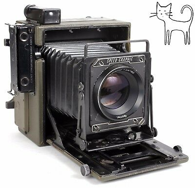 Graflex Speed graphic Army KE-12 OD green 4X5 camera with 150mm F2.8 lens