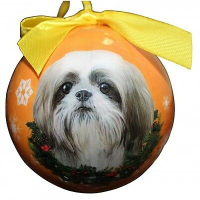 Shih Tzu Puppy Tan Shatterproof Ball Dog Christmas Ornament