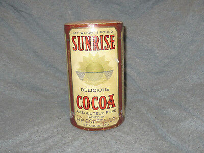 Vtg. Full Unopened SUNRISE Cocoa Cardboard Tin Can, not coffee
