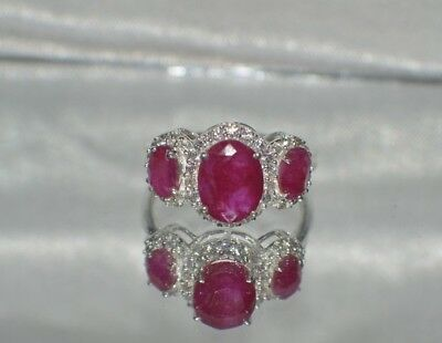 4.26ct. NATURAL GENUINE AFRICAN RED RUBY & NATURAL TOPAZ STERLING SILVER  RING