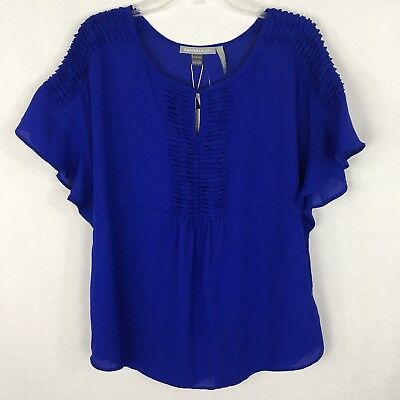 Daniel Rainn for A Pea in the Pod Maternity Size S Blue Sheer Blouse Shirt Top