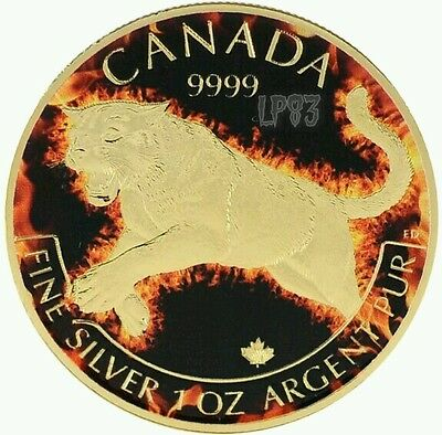 2016 1 Oz Silver Canadian Cougar Coin 999 Gold Gilded Colorized Fire.(Box N Coa)