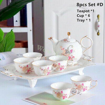 New Pottery Porcelain 13pc Ceramic Coffee English Tea Pot Cup Stand Set #7194