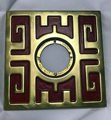 VINTAGE Schlage MING DOOR ESCUTCHEON RED