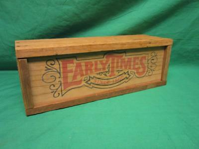 Vintage Early Times Whiskey Wood Box Crate Slide Top, Very Excellent Condition
