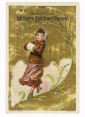 Trade Card Baltimore Star Brand Oysters Confectionery Ice Cream Oysters - Yum!