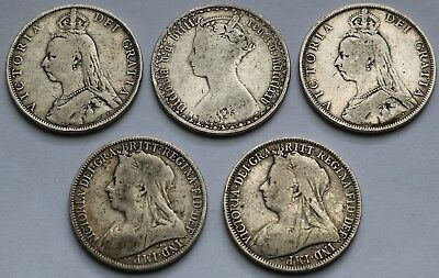 Great Britain .925 Silver Florin Lot 1875-1900 F-Vf