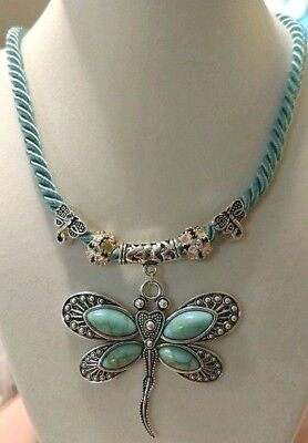Handcrafted Silver Turquoise Dragonfly Teal Satin Cord Necklace Beads Bling