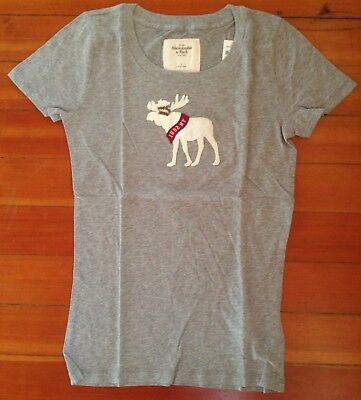 Abercrombie & Fitch Embroidered Moose Reindeer T-Shirt Women's Sz L