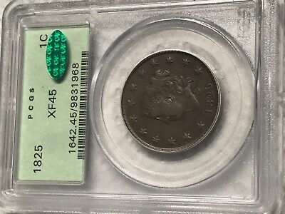 1825 LARGE CENT 1c CORONET HEAD PCGS XF45 & CAC APPROVED (LOOKS AU!) ~ OGH!!