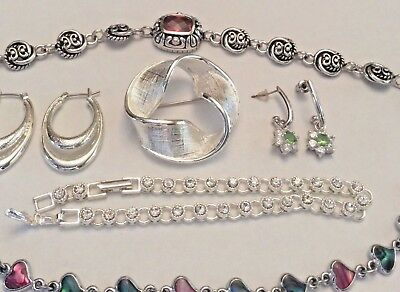 Vintage lot of silver tone jewelry rhinestone and abalone look Avon, Napier
