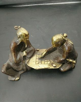 Antique china brass hand made old man Play chess statue