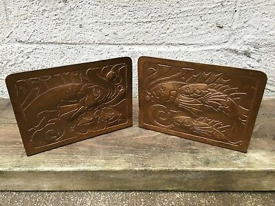 Arts & Crafts Mission Copper Fish Bookends From Michigan Like Forest Craft Guild