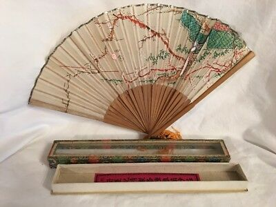 Antique Hand Painted Cherry Blossom And Geisha Ladies Silk Fan Exc Glass Box
