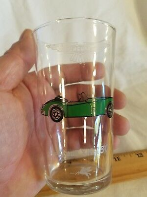 1960 Jaguar XK150 Mobil Oil Drinking Glass RARE!! Awesome L@@K Nice Collectible!