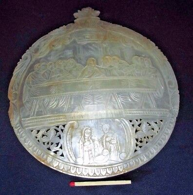 Antique H/ Carved Mother of Pearl Shell Christ Last Supper & Nativity View 14CmW