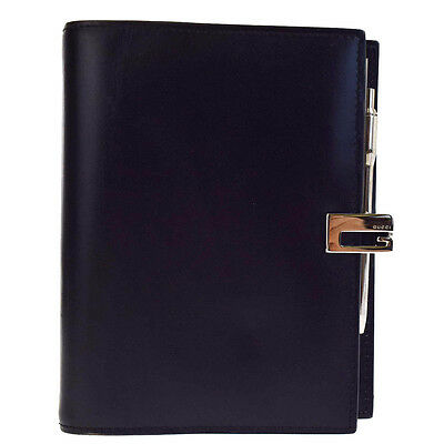 Authentic GUCCI Logos Agenda Cover Day Planner Leather Black Italy 04V2335