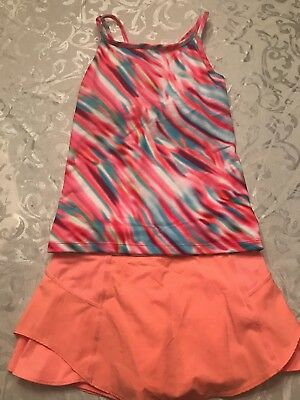 Athleta Girl Size 12 Tennis Tank And Skirt Orange, Turquoise, And Pink Pre-owned
