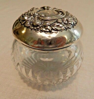Gorham Vanity Powder Jar Cut Crystal With Sterling Repousse Lid