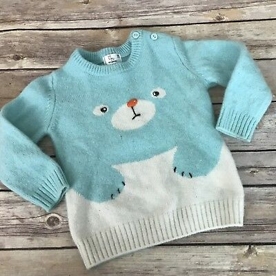 Kingkow Sweater Baby Boy Size 80 2T Blue Soft Wool Blend #2314