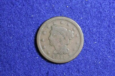 Vintage 1851 Braided Hair Large Cent Great Solid Coin 1
