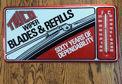TRICO Wiper Blades & Refills Advertising Thermometer -sign-NOS