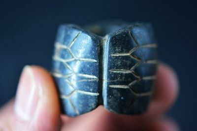 Rare Chinese hongshan culture jade carved *3 Turtle shell* Cong Thumb Ring C60