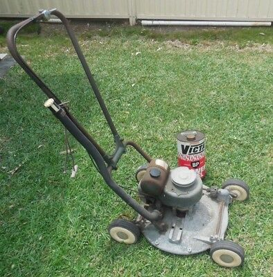 Victa 18 lawn mower vintage collectable and Victa petrol BP  tin
