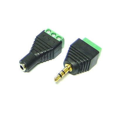3.5mm Stereo Audio Male Female Plug Connector Adapter to Terminal Dual Channel