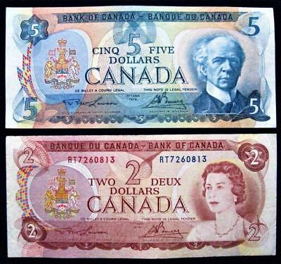 Lot of 2 Canada Banknotes $5 $2 Dollars 1979 1974 Canadian Bank Note Value Lot
